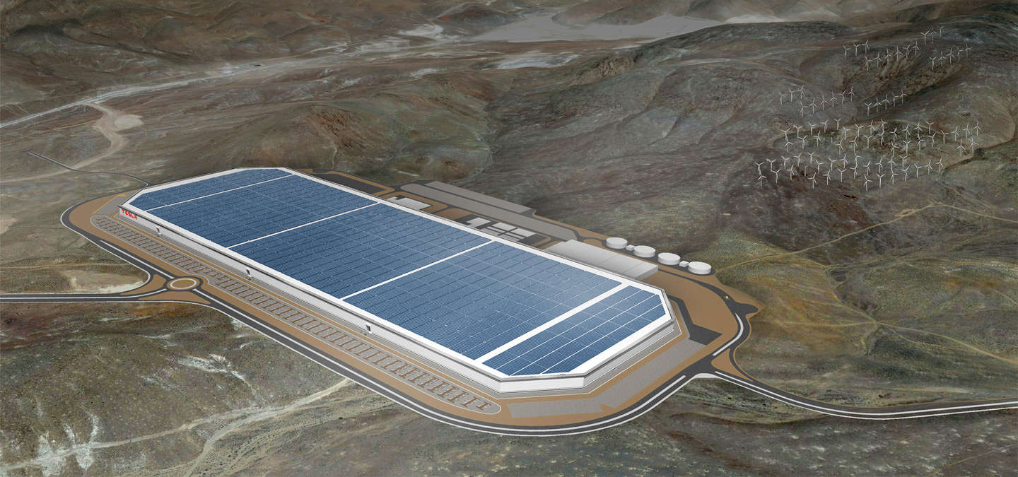 diamond shaped tesla gigafactory