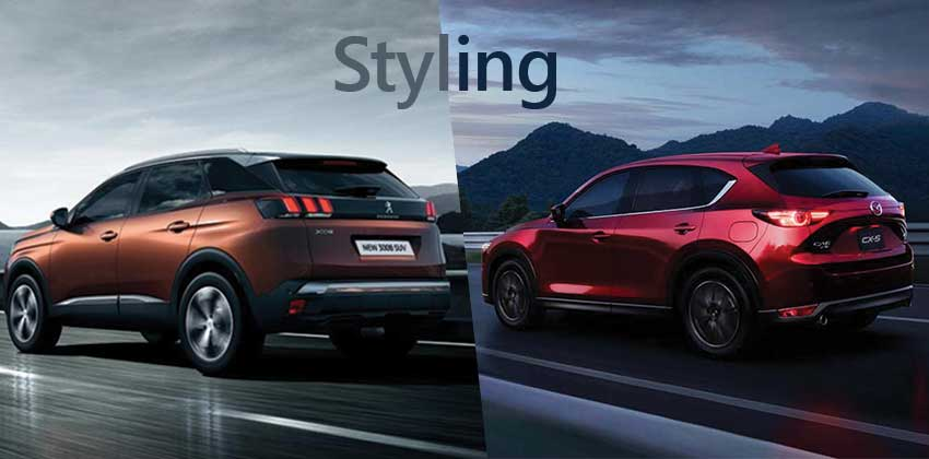 Peugeot 3008 vs Mazda CX-5 - styling